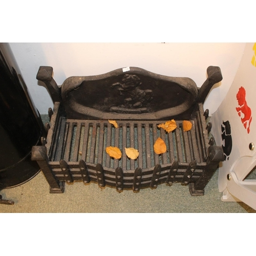 46 - Cast Iron Fire Grate with horse decorated back...