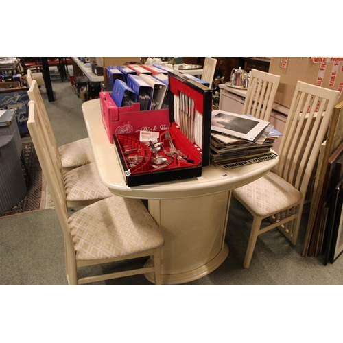 360 - Cream 1980s dining table and 6 chairs with upholstered seats...