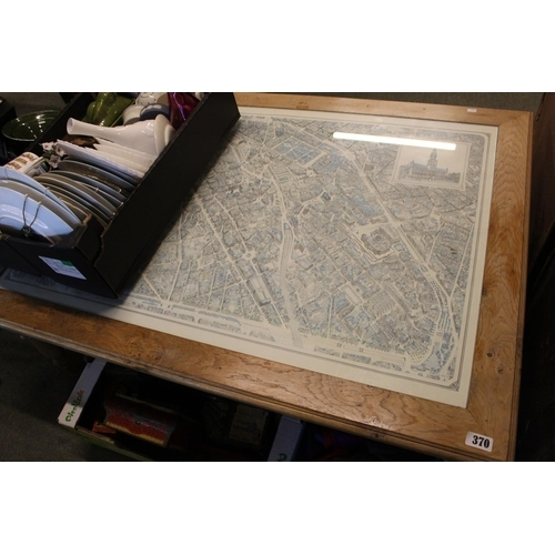 370 - Large Pine coffee table with inset amp of Brussels...
