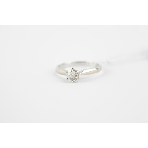 293 - Ladies 18ct White Gold Diamond Solitaire ring, Old Cut European Diamond Approx. .60ct estimated F/G ...