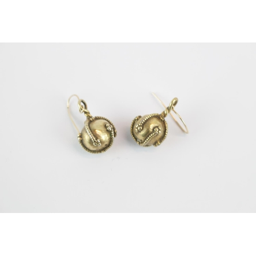 294 - Pair of Yellow metal ball and rope drop earrings 10.2g total weight...
