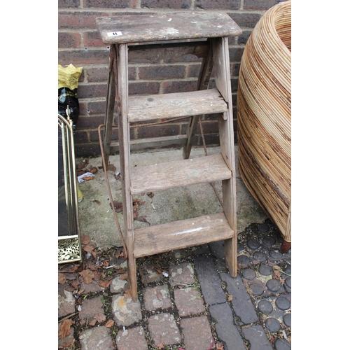 11 - Vintage Wooden step ladder with metal fittings...
