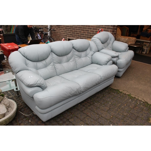 18 - Pastel 3 seater sofa and matching elbow chair...