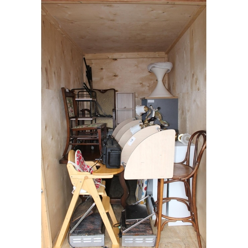 24 - Contents of a Shipping Crate to include Dining table, Shelf unit, Bentwood Chair etc...