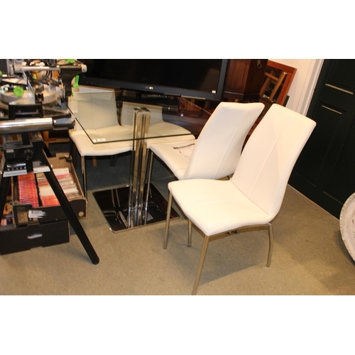 48 - Modern Square Glass dining table with chrome base and 4 matching chairs with white Leather seats and...