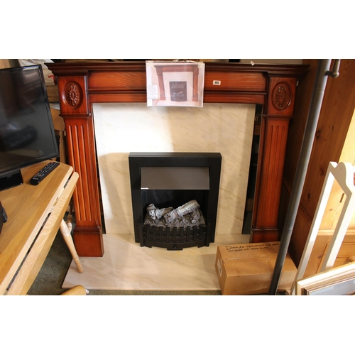 101 - Fireplace with surround, Solid Marble plinth and back and Dimplex Fire with parts and Remote...