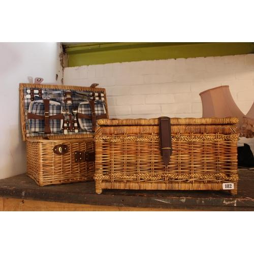 102 - Wicker Picnic Set and Wicker basket...