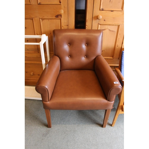 109 - Brown Leather effect Elbow chair...