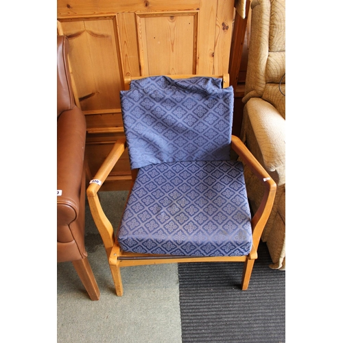 110 - Parker Knoll Elbow chair with upholstered seat and Back...