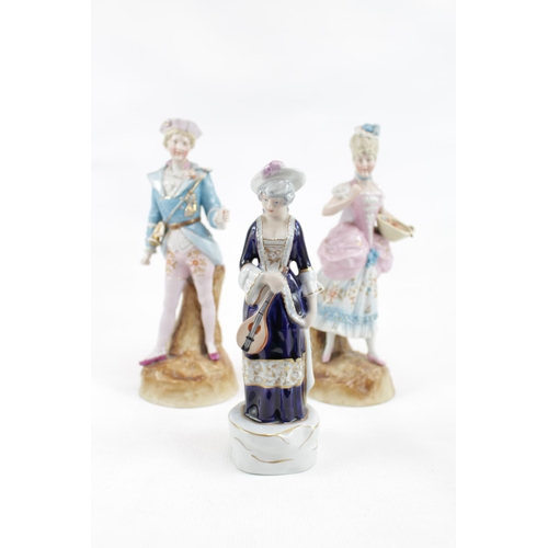 130 - Pair of European Ceramic figures of a Regency Gentleman and Woman and a later figure...