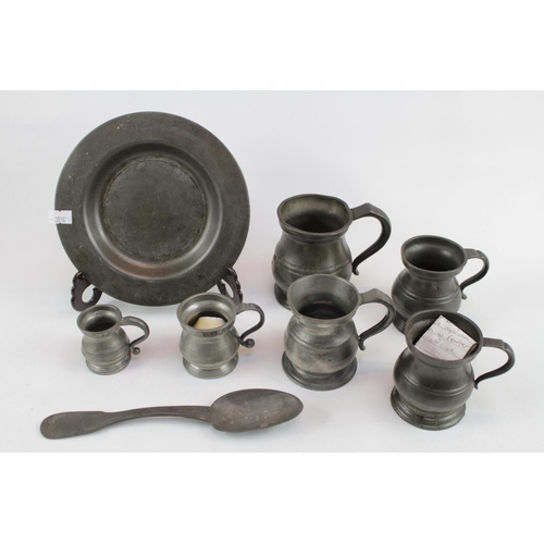 136 - Collection of 18thC and Later Pewter tableware...