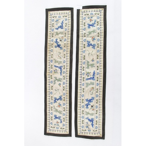 138 - Pair of Chinese Silk embroidered sleeve hangings...