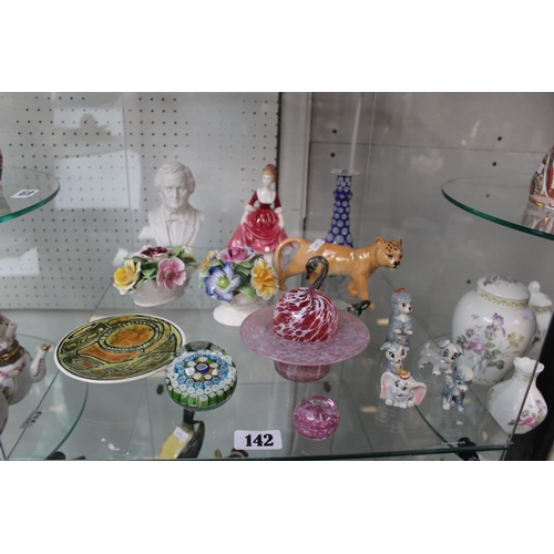 142 - Collection of Small Ceramics and Glassware inc. Wade Disney Series, Poole Cabinet plate etc...