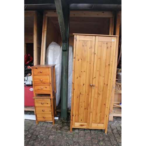 28 - Pine Single robe and 2 matching Pine Bedside chests...