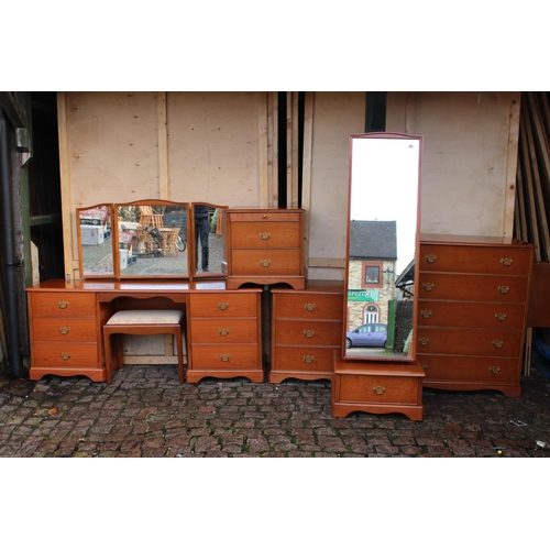 32 - Stag Bedroom Suite comprising of Dressing table, Chest of Drawers, 2 Bedside chests and a Cheval Mir...
