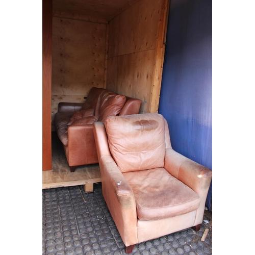 33 - 2 Piece Worn Brown Leather Sofa Suite...