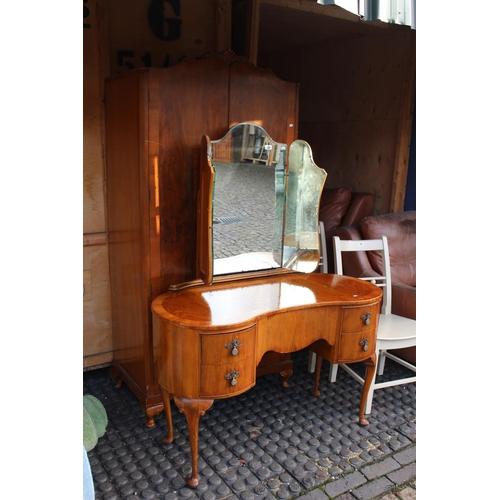 35 - Walnut Kidney shaped Dressing table and Wardrobe...
