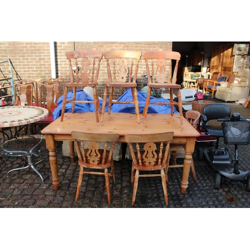 8 - Pine Farmhouse table on turned supports and a Set of 6 matching chairs...