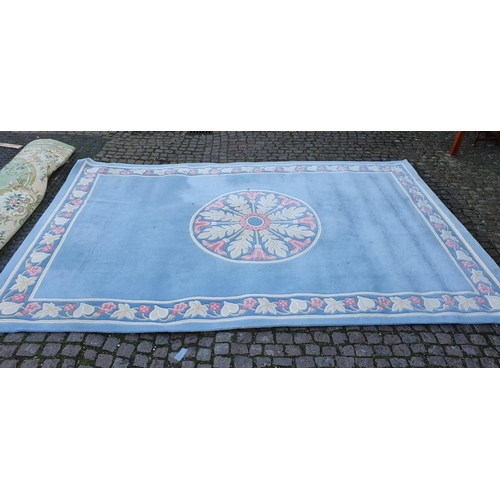36 - Large Blue Ground Rug with floral border 430cm x 282cm Approx...