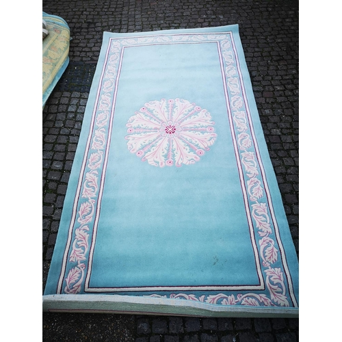 39 - Green Ground Rug with floral border 410cm x 209cm Approx...