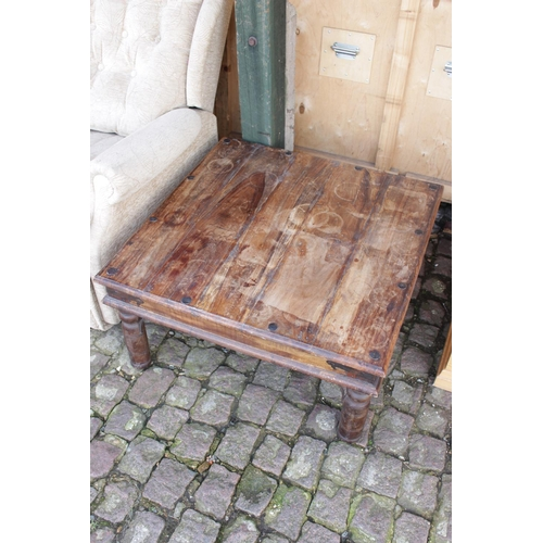 41 - Asian Hardwood Low Coffee table with Metal Banding...