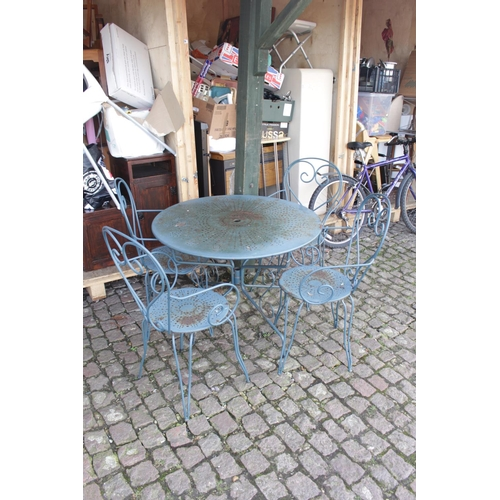 43 - Green Painted Metal Garden Table and Chairs...
