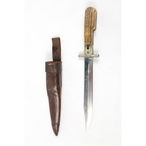 161 - Folding Bowie knife with staghorn grips, blade marked: Rowland Ward, Anton Wingen JR, Solingen...