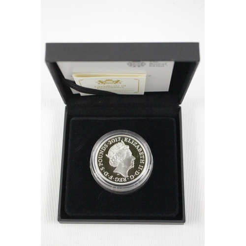 292 - Cased £5 Silver Proof 2017 Remembrance Silence Speaks when words can not 859 of 1500...