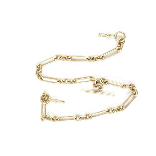 313 - Gents 9ct Gold Bar watch chain with Lobster clasp 64.8g total weight...
