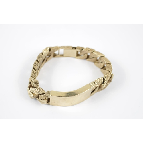 314 - Impressive Gents 9ct Gold ID Bracelet with bark finish chain 124g total weight...