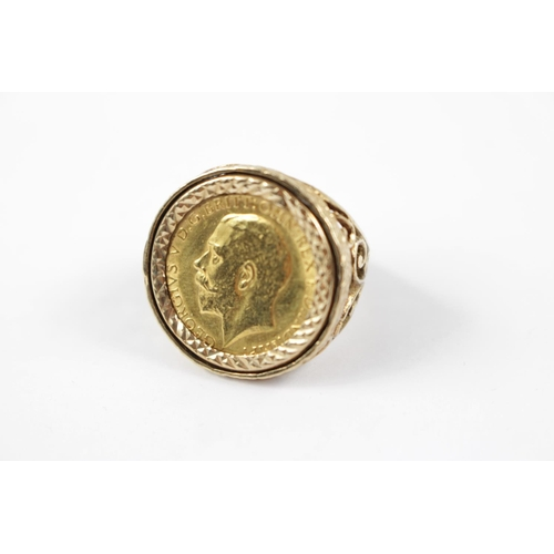 320 - Gents Half Sovereign in Ring Mount 8.7g total weight...