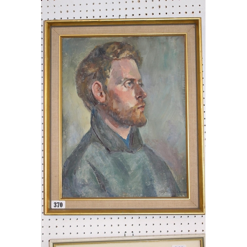 370 - Angela Stones (1914-1995), Framed Oil on board Portrait of a Man, signed to bottom right 44 x 34cm...