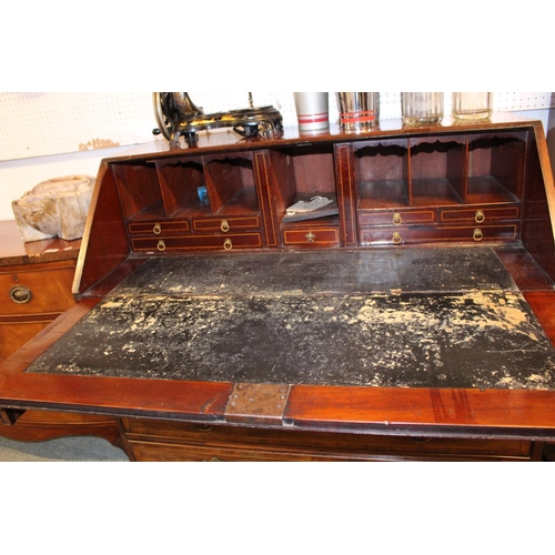 428 - George III Walnut Fronted Fall Front Bureau with fitted interior over 4 Inlaid drawers with brass dr...