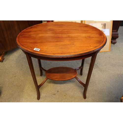433 - Edwardian Oval Inlaid Walnut side table with undertier, 68cm in Diameter...