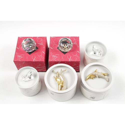 2 - Collection of Swarovski Brooches and other items inc. 2 Boxed SCS Renewal Gift Swan 1 & 2 - 1995, Do...