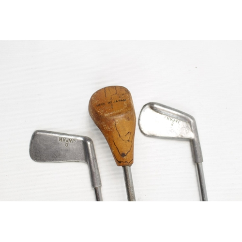 20 - Set of 3 Interesting Japanese Children's Golf Clubs, stamped Japan, 58cm in Length...