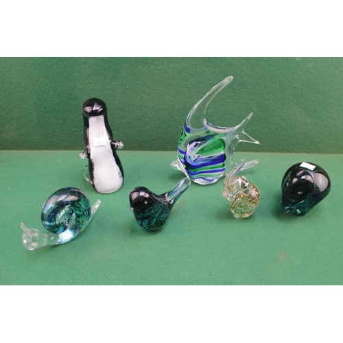 16 - Collection of assorted Art Glass figures inc. Snail, Otter, Angel Fish etc...