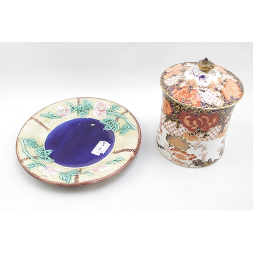 29 - Royal Crown Derby Biscuit Barrel with lid and a 19thC Majolica basket weave dish with floral decorat...