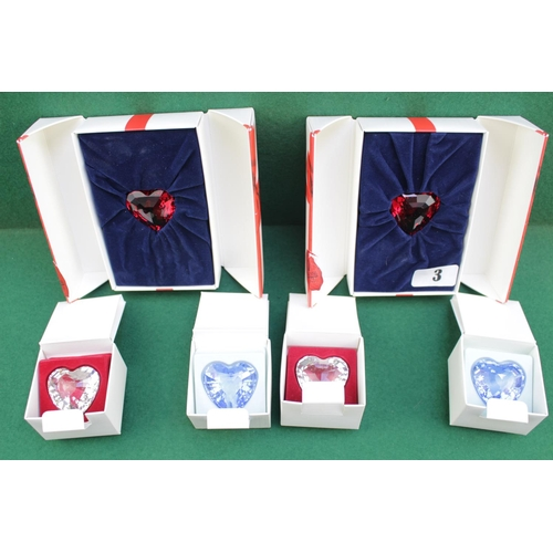 3 - Collection of Boxed Swarovski Crystal Hearts, 1996, 1997 & 1997 Complete Sets...