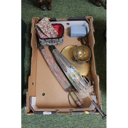 43 - Collection of assorted Asian wares inc. 2 Parasols, Altar Bowl, Begging bowl etc...