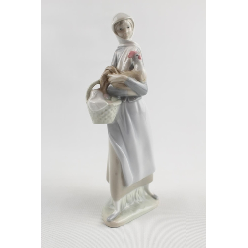 56 - Lladro figure of a Woman with Chicken and flower basket...