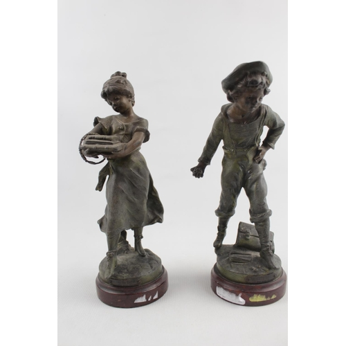 58 - Pair of Late 19thC Patinated Cast Metal figures of a young boy and girl by Auguste Moreau, each with...
