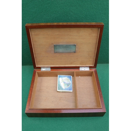 6 - Scandinavian Cedar Lined Cigar box with quartered veneer, with applied Fred Olson Enamel plaque, Sil...