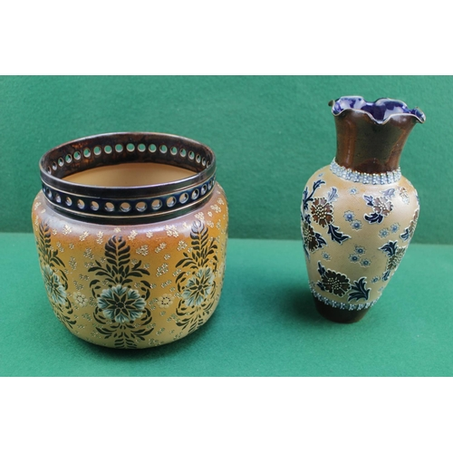 9 - Doulton Lambeth Floral decorated vase with raised decoration with Art Union of London Stamp to base ...