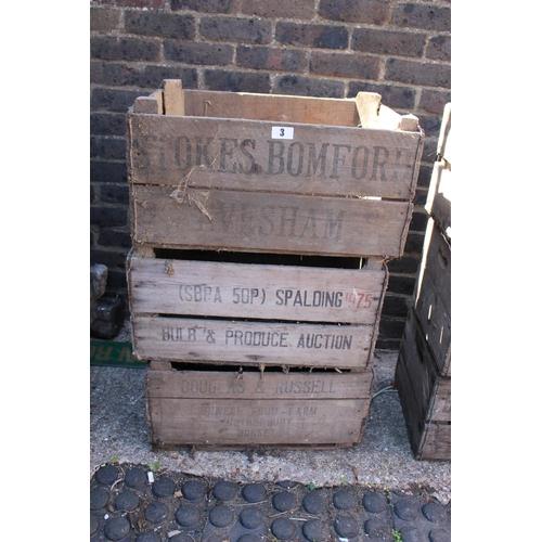 3 - 3 Vintage Wooden crates inc Stokes Bomford of Evesham...