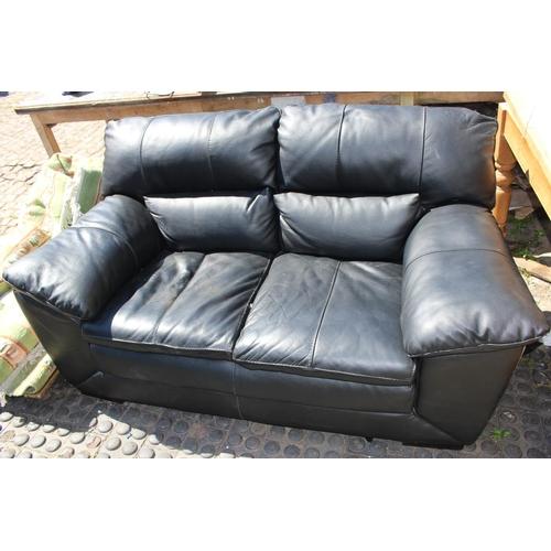 30 - Black Leather 2 seater Sofa...