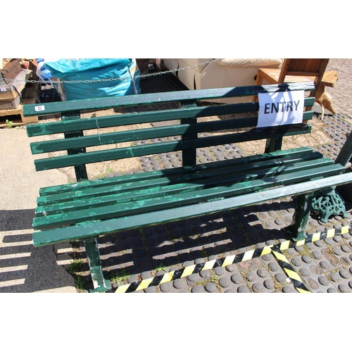 32 - Green painted Plastic Bench...
