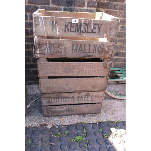 4 - 3 Vintage Wooden crates inc K Kemsley of West Malling etc...