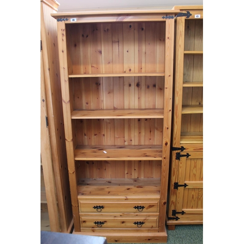 46 - Pine Bookcase with 2 drawers to base...