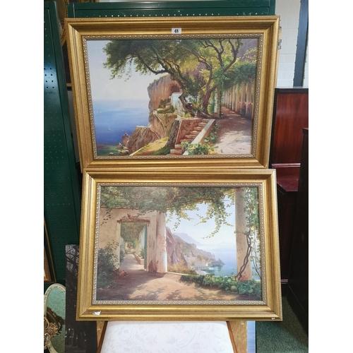48 - 2 Gilt framed Prints of Italian coastal scenes...
